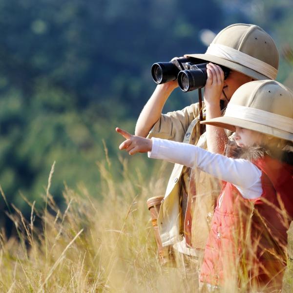 botswana en famille: enfants regardent la brousse avec des jumelles