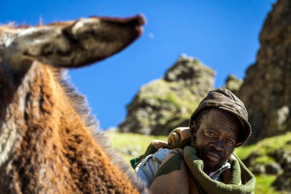 portrait d'un berger de basotho aussi appelé cavalier de basotho