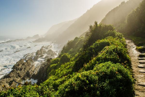 montagnes, falaises abruptes et océan indien sur la route des jardins