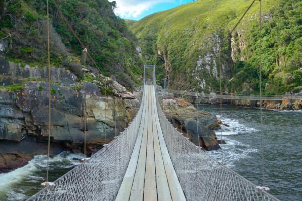 pont suspendu au dessus de storm river dans le parc de tsitsikamma