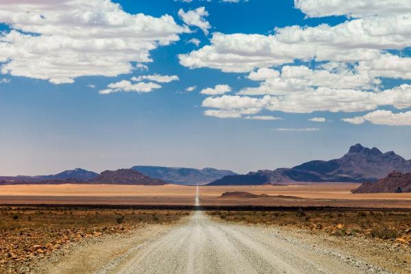 paysage typique des grands espaces namibiens avec piste et horizon
