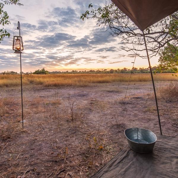 vue dégagée sur la brousse depuis l'interieur d'une tente mobile