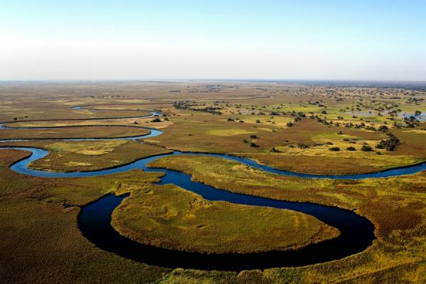 Vue du ciel, le magnique Delta de l'Okavango aux couleurs bleu-vert