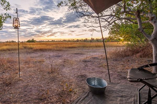 Bivouac : vue sur la brousse depuis l'interieur d'une tente
