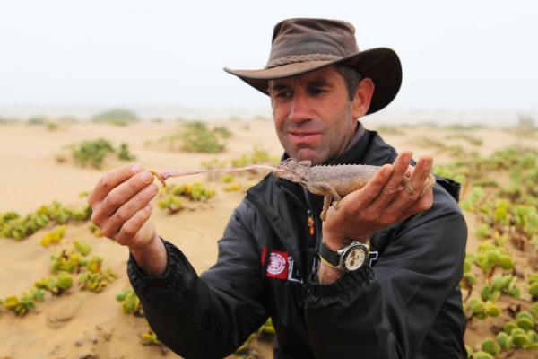 Un guide, tenant un caméléon dans sa main, explique son comportement