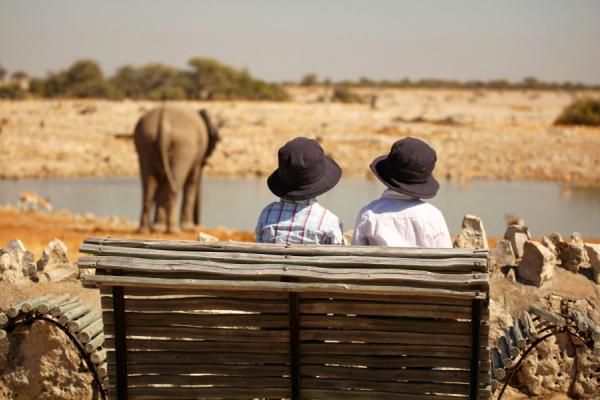 Assis sur un banc, 2 enfants observent un éléphant en train de boire