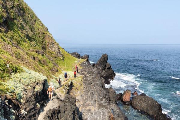Des randonneurs évoluent le long de falaises escarpées à Tsitsikamma