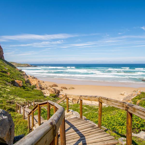 La pointe de Robberg avec un ponton donnant accès à sa plage immaculée