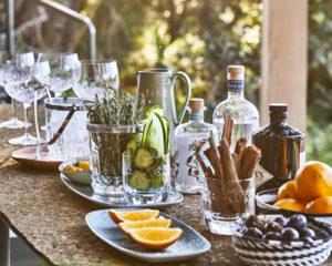 Table garnie d'épices et aromates pour un Gin Tonic très local !