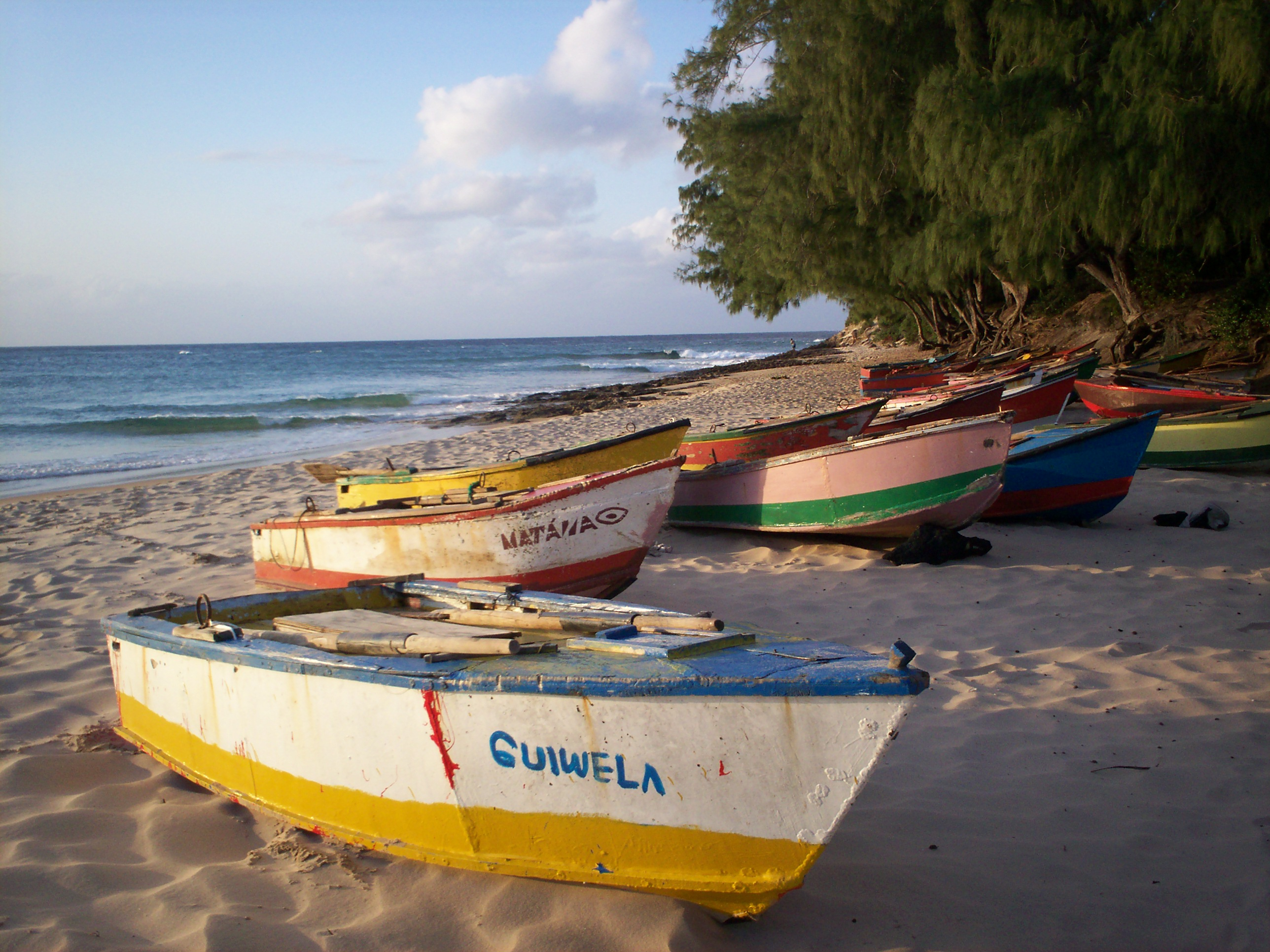 succession de bateaux colorés sur la plage de tofo