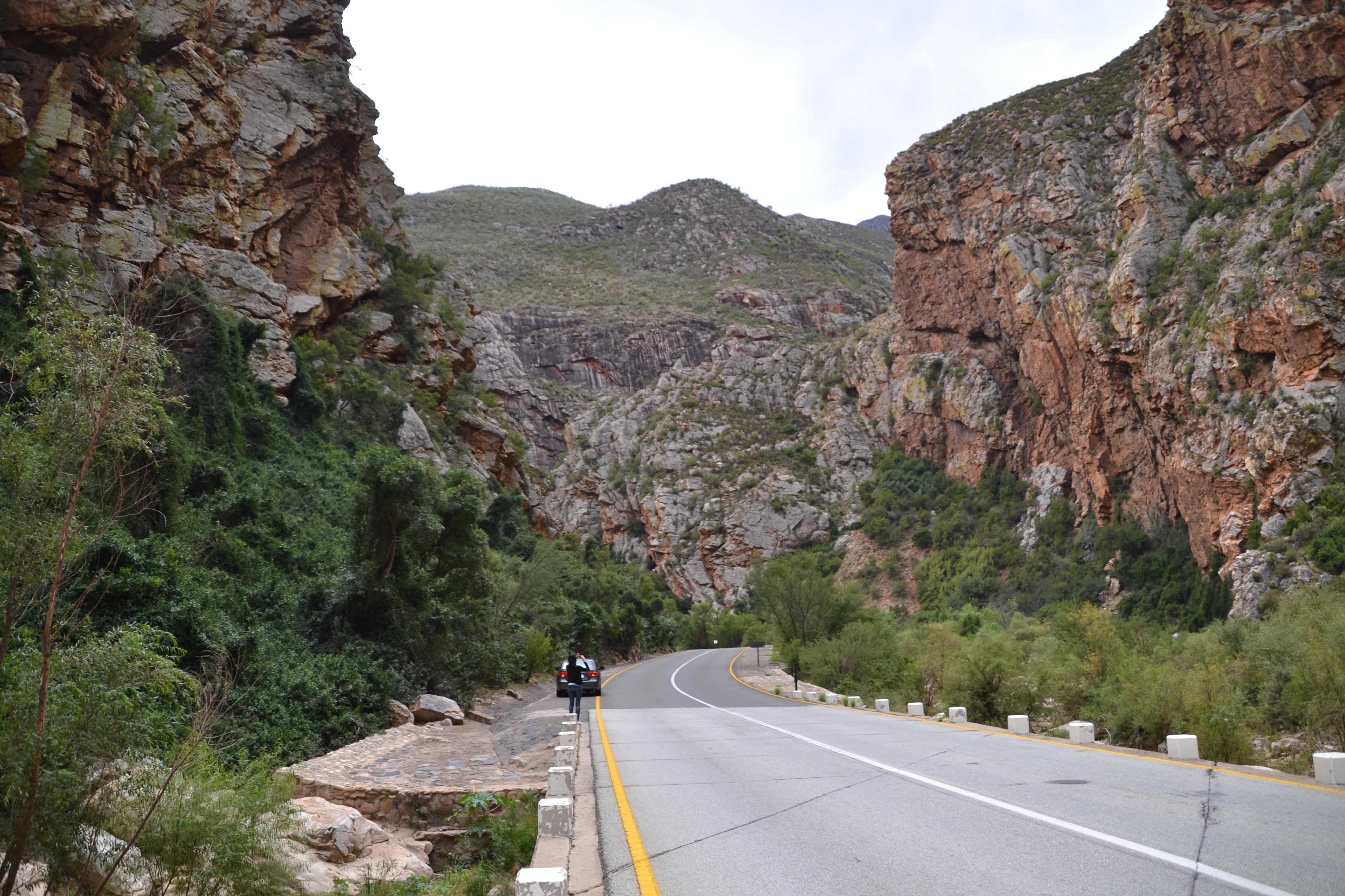 Une personne prend une photo des montagnes du Karoo depuis la route