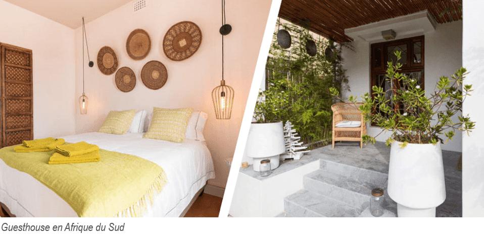 une guesthouse en Afrique du sud : extérieur cosy et chambre simple