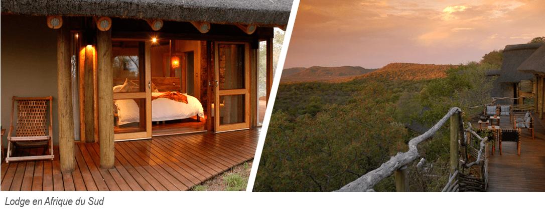 un lodge en afrique du sud : chambre et vue du deck sur la brousse