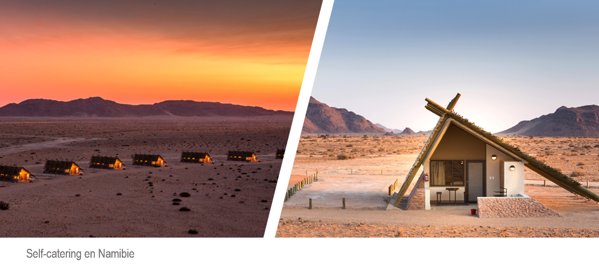 camp dans le désert de Namibie avec le détail d'un self catering