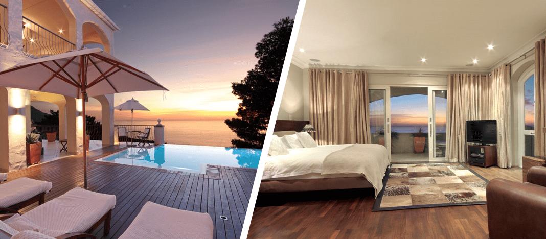 villa avec piscine au cap et sa chambre, toutes deux avec vue mer