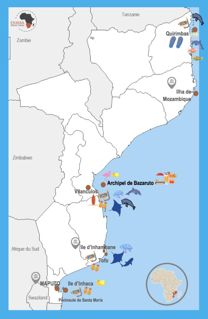 carte avec reperes des lieux incontournables du mozambique