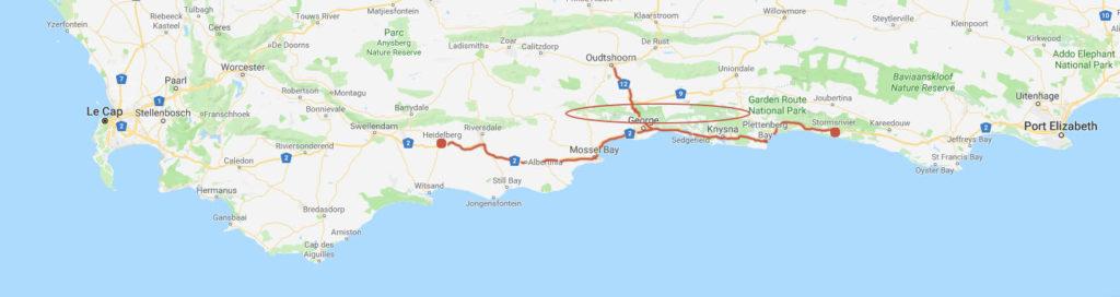 Carte représentant la localisation des Monts d'Outeniqua en Afrique du Sud
