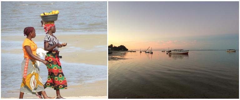 deux femmes se promenent sur la plage un bac sur la tete et paysage de l ocean calme