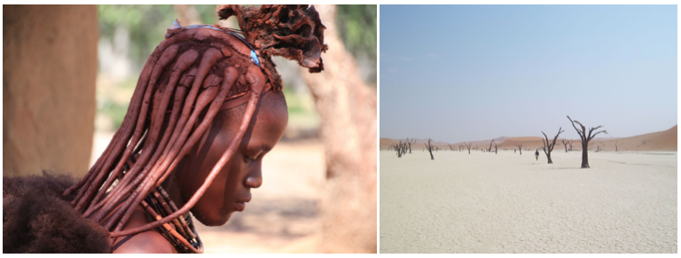 jolie jeune fille du peuple himba et paysage du desert du namib en namibie