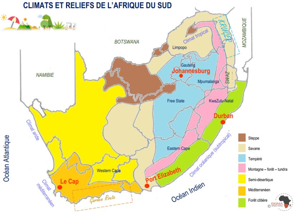 carte illustrant les différents climats et reliefs de l'Afrique du sud