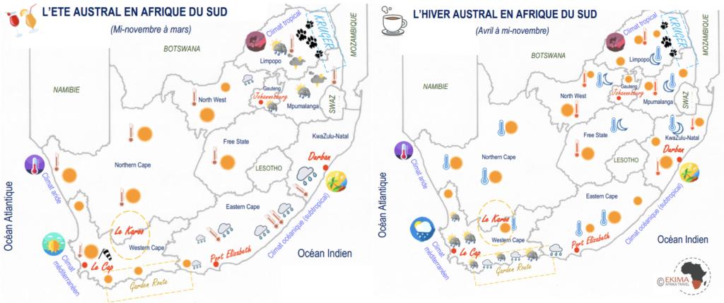cartes illustrant le climat en été et en hiver en Afrique du sud