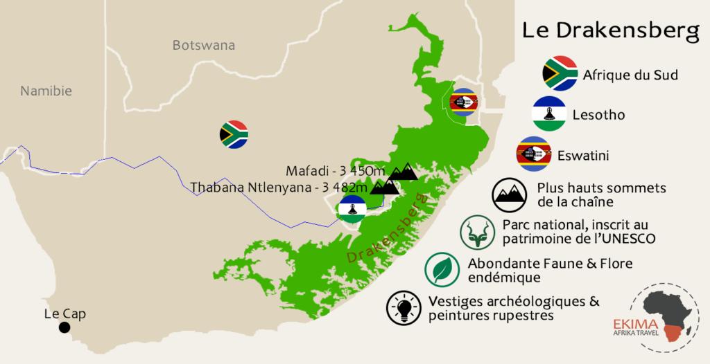Une carte du Drakensberg légendée reprenant les points forts du site