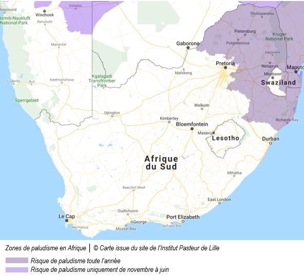 carte de l'Afrique du sud avec surlignées en mauve les zones de palu