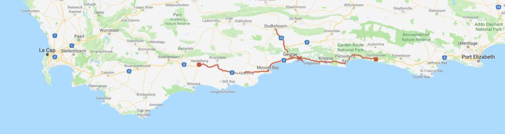 Carte représentant la localisation de la reserve du Wilderness en Afrique du Sud