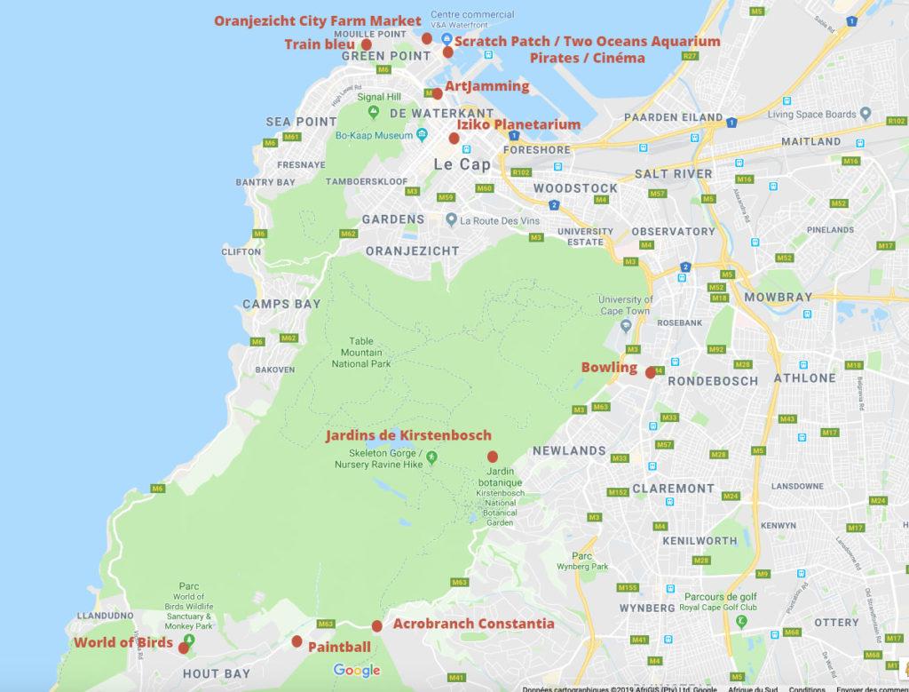 Carte representant les differententes geolocalisation des activites citees ci dessus