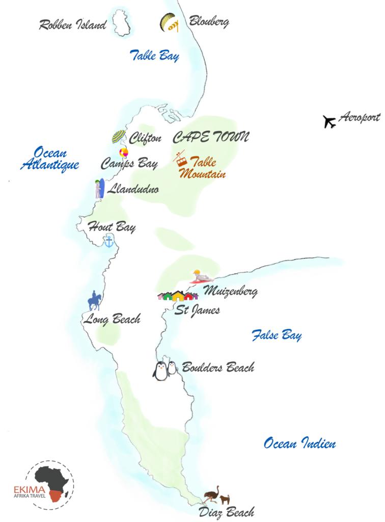 Les 10 plages de Cape Town sur une carte dessinée de la péninsule
