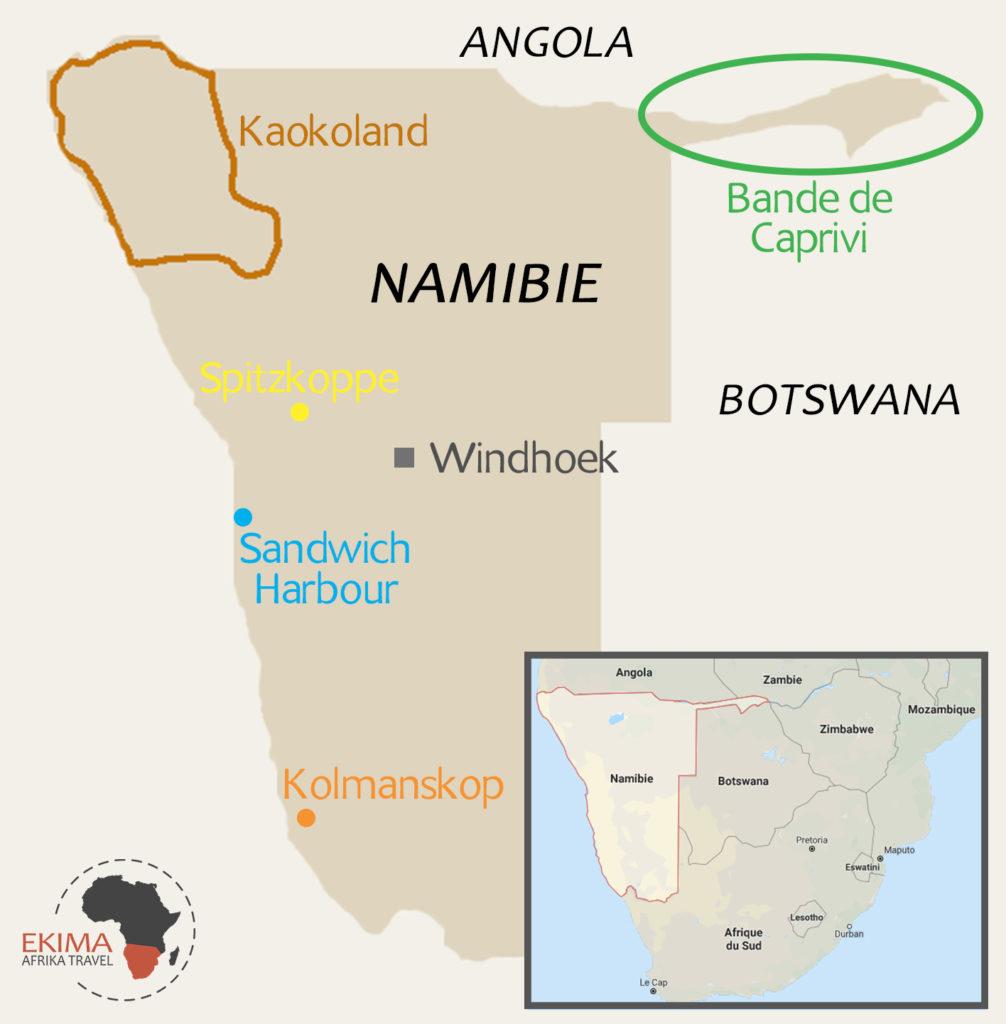Carte pointant les cinq lieux à visiter en Namibie