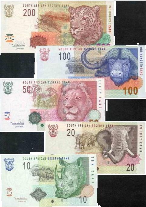 La tête de chaque big 5 représentée sur les billets sud-africains