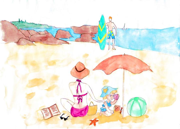 Dessin d'une famille sur la plage de Clifton en train de se détendre