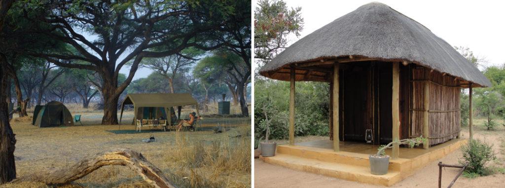 Hébergement simple sous forme de hutte et de tentes