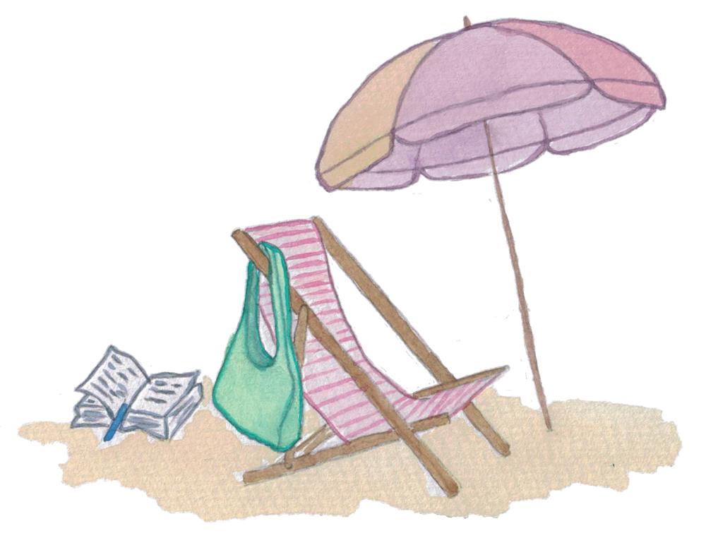 Dessin illustrant la plage avec un transat et un sac accroché dessus