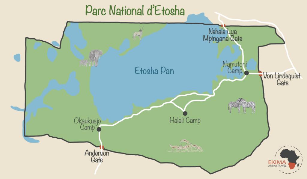Carte du parc d'Etosha faisant figurer les portes d'accès et les camps