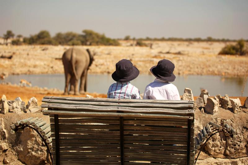 De dos, deux enfants assis sur un banc observent les animaux à Etosha