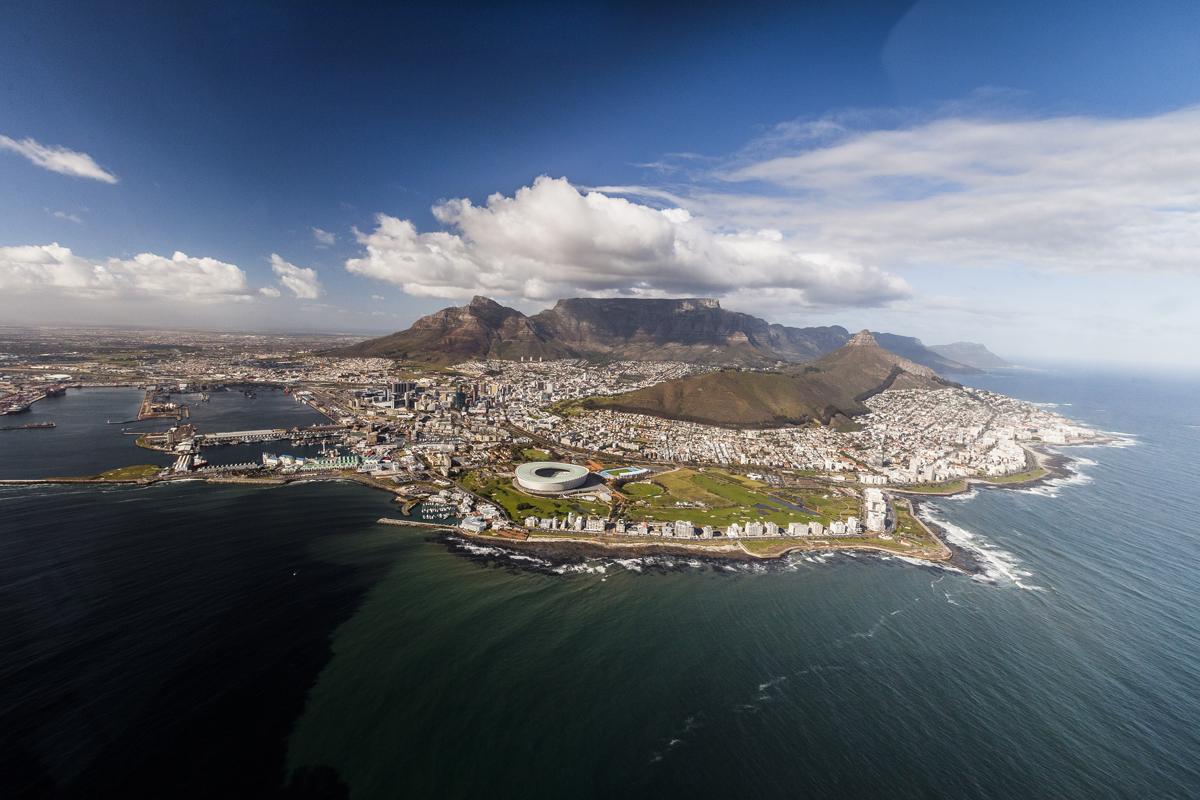 Vacances de Noël en Afrique du sud : Cape Town vue du ciel