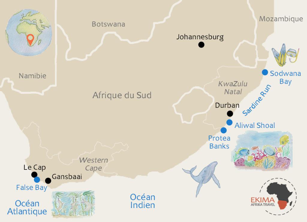 Carte plongée en Afrique du Sud avec les principaux spots