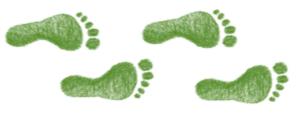 Icône d'empreintes de pieds de couleur verte représentant l'écologie