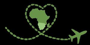 logo vert : un trajet en avion formant un coeur entoure l'Afrique