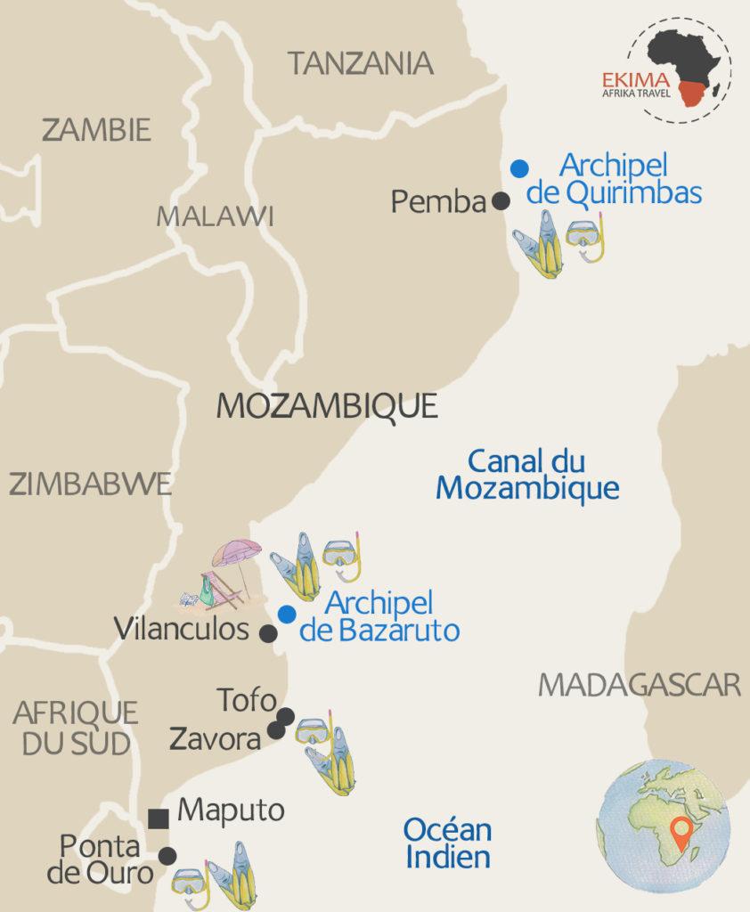 Carte des meilleurs spots de plongée au Mozambique