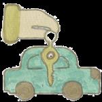 Icone dessin location de voiture avec voiture et clé